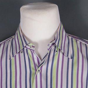 Robert Talbott Carmel Striped Button Down Shirt XL